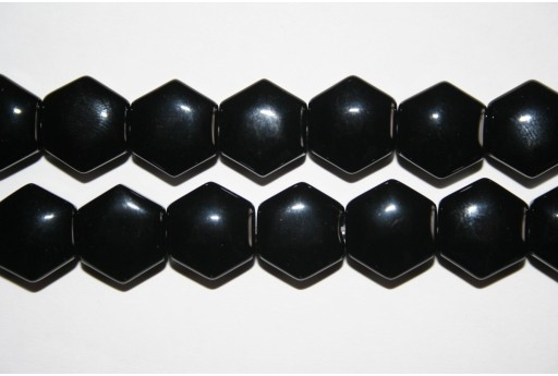 Black Onyx Hexagon Beads 12mm - 4pcs
