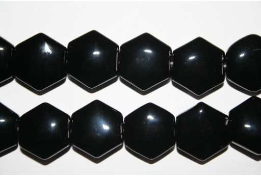 Black Onyx Hexagon Beads 16mm - 2pcs