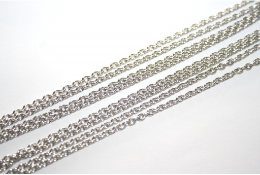 Platinum Plated Steel Chain Oval 3x2x0,5mm - 1mt
