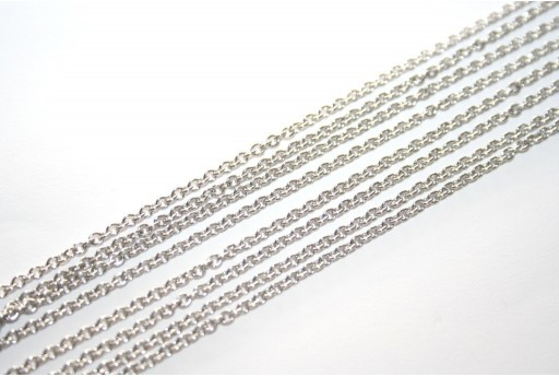 Platinum Plated Steel Chain Rolo' 2x2x0,5mm - 1mt