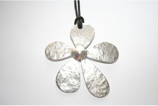 Silver Flower Pendant 62x65mm - 1pz