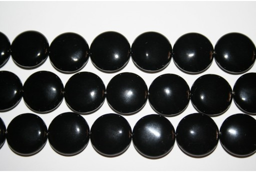 Black Onyx Lentil Bead Strand 20mm - 20pcs