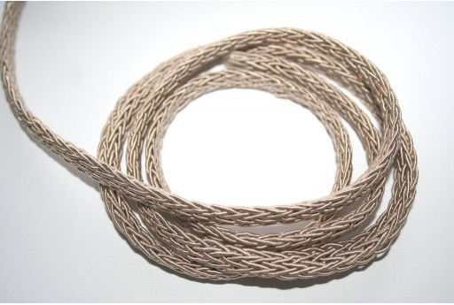 Polyesteric Braided Cord Beige 4x7mm - 50cm
