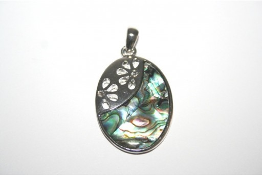 Silver Shell Oval Pendant 35x24mm - 1pz