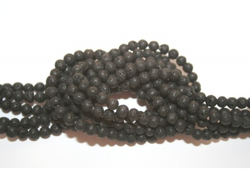Natural Lava Beads Strand Round Black 4mm