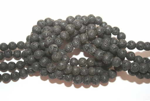 Natural Lava Beads Strand Round Black 6mm