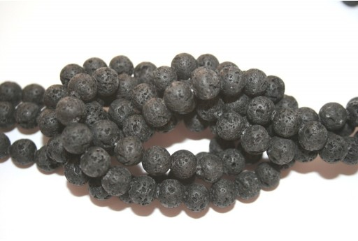 Natural Lava Beads Strand Round Black 8mm