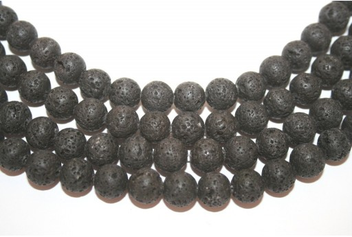 Natural Lava Beads Strand Round Black 10mm