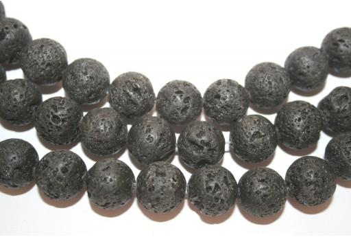 Natural Lava Beads Strand Round Black 14mm