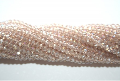 Chinese Crystal Beads Faceted Rondelle Beige AB 2x3mm - 140pcs