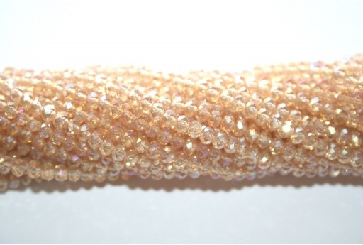 Chinese Crystal Beads Faceted Rondelle Gold AB 2x3mm - 140pcs