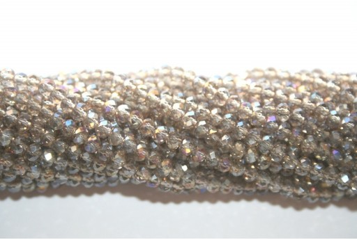 Chinese Crystal Beads Faceted Rondelle Grey AB 2x3mm - 132pcs