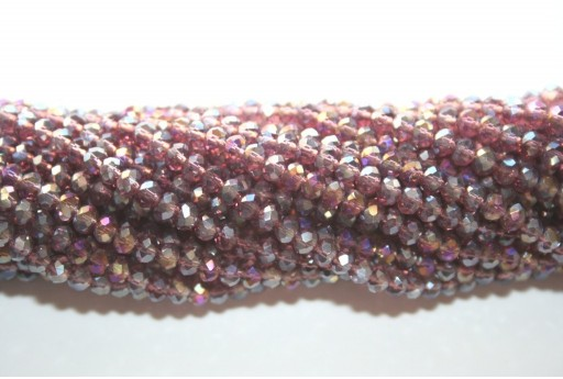 Chinese Crystal Beads Faceted Rondelle Amethyst AB 2x3mm - 140pcs