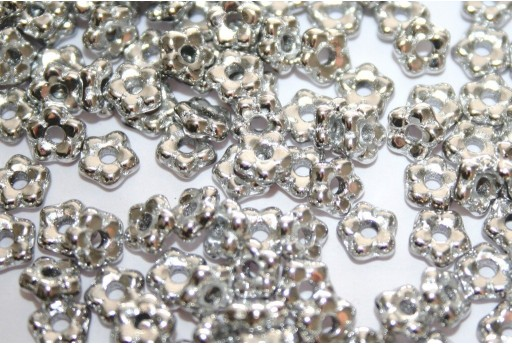 Flower Beads Silver 5mm - 50pcs