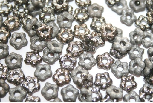 Flower Beads Etched Full Chrome 5mm - 50pcs