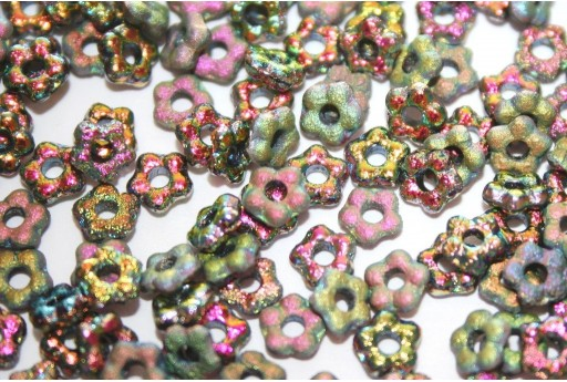 Flower Beads Etched Vitrail Full 5mm - 50pcs