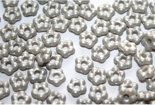Flower Beads Alabaster Pastel Grey 5mm - 50pcs