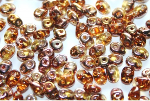 Superduo Beads Copper-Topaz 5x2,5mm - 10gr