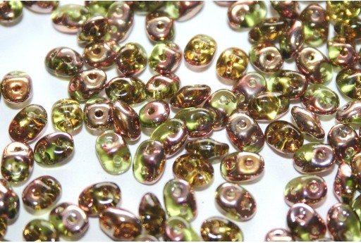 Perline Superduo Olivine Capri Gold 5x2,5mm - 10gr
