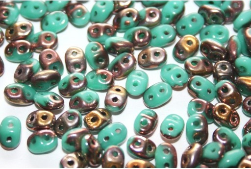 Superduo Beads Turquoise Capri Gold 5x2,5mm - 10gr