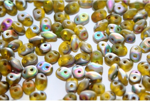 Superduo Beads Matte-Vitrail Smoky Jonquile 5x2,5mm - 10gr