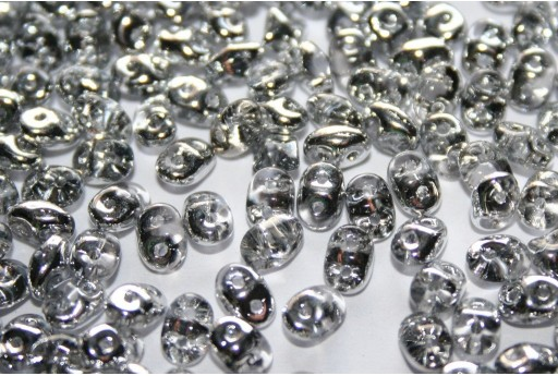 Superduo Beads Silver 1/2 5x2,5mm - 10gr