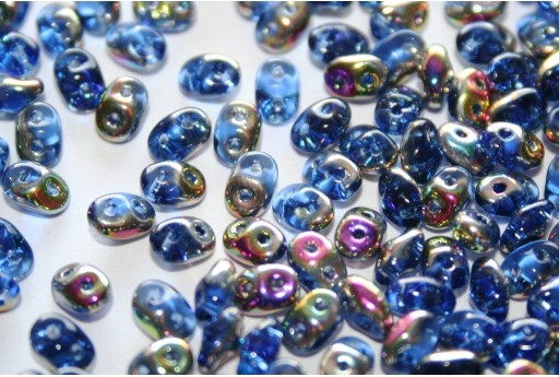Perline Superduo Vitrail-Sapphire 5x2,5mm - 10gr