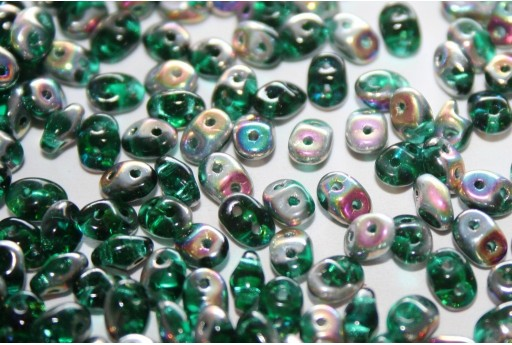 Perline Superduo Emerald Vitrail 5x2,5mm - 10gr