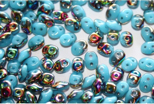 Perline Superduo Vitral-Blue Turquoise 5x2,5mm - 10gr