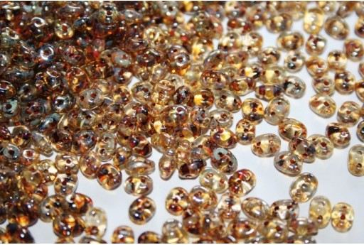 Superduo Beads Crystal Picasso 5x2,5mm - Pack 100gr