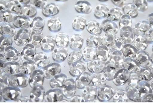 Perline Superduo White Lined Crystal 5x2,5mm - 10gr