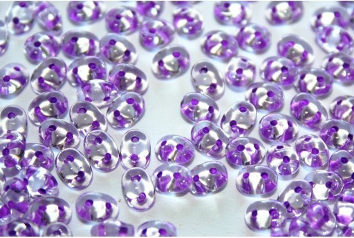 Superduo Beads Purple Lined-Crystal 5x2,5mm - 10gr