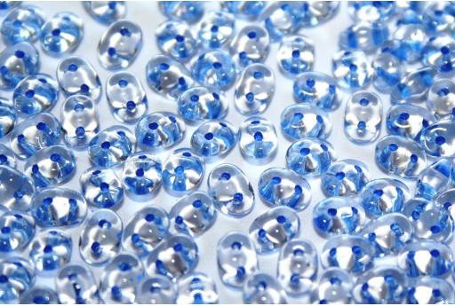 Perline Superduo Blue Lined-Crystal 5x2,5mm - 10gr