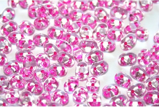 Superduo Beads Ruby Lined-Crystal 5x2,5mm - 10gr
