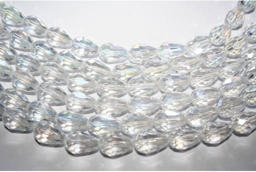 Cristallo Cinese Briolette Sfaccettata Crystal AB 15x10mm - 25pz
