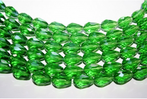Chinese Crystal Beads Faceted Briolette Green 15x10mm - 25pcs