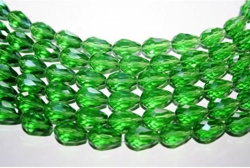 Cristallo Cinese Briolette Sfaccettata Verde 15x10mm - 25pz
