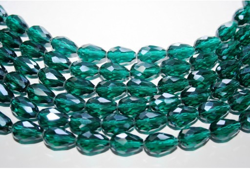 Chinese Crystal Beads Faceted Briolette Teal 15x10mm - 25pcs