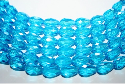 Chinese Crystal Beads Faceted Briolette Aqua 15x10mm - 25pcs
