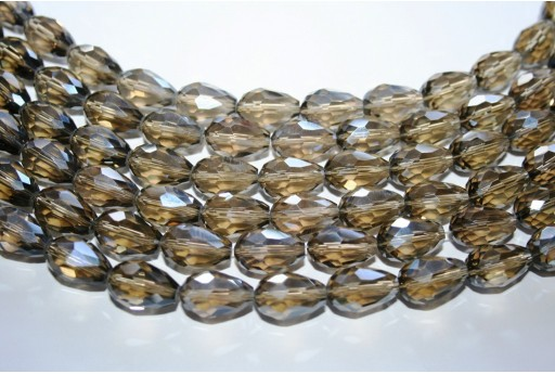Cristallo Cinese Briolette Sfaccettata Grigio 15x10mm - 25pz