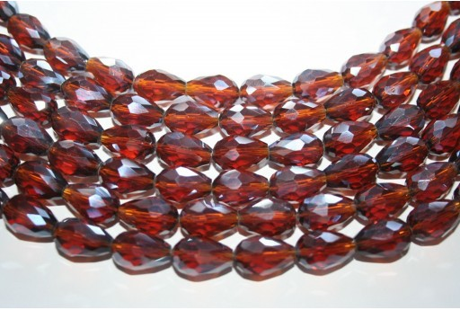 Chinese Crystal Beads Faceted Briolette Brown 15x10mm - 25pcs