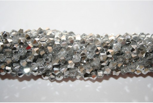 Chinese Crystal Beads Bicone Silver 4mm - 110pcs