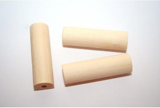 Perline Legno Naturale Tubo 40x12mm - 6pz