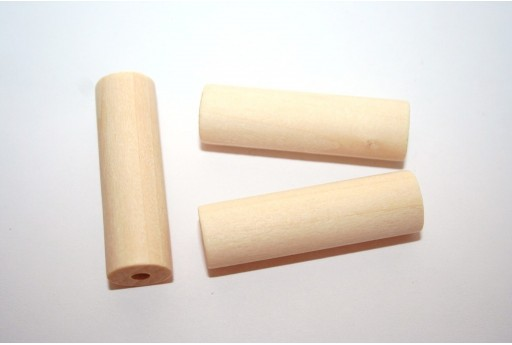Wood Beads Tube 40x12mm - 6pcs