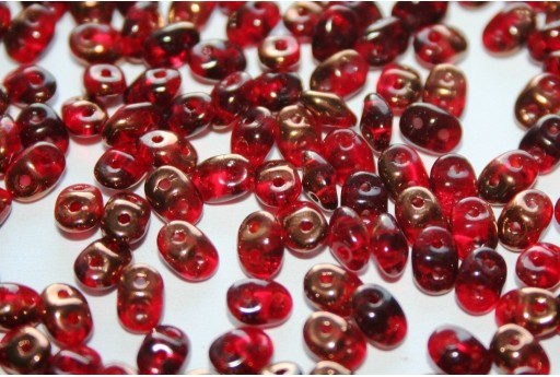 Superduo Beads Luster Bronze 1/2 Siam Ruby 5x2,5mm - 10gr