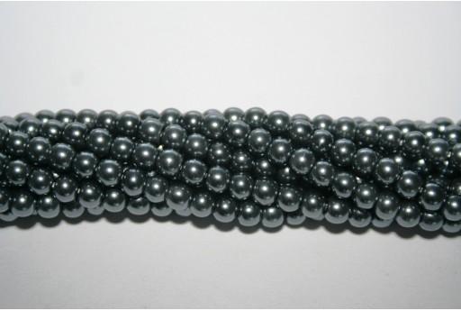 Perle Cerate Vetro Grigio 4mm - 105pz