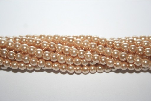 Glass Pearls Strand Beige 4mm - 105pcs