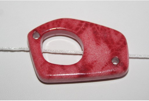 Perle Acrilico Rosso Forma Astratta 38x27mm - 3pz