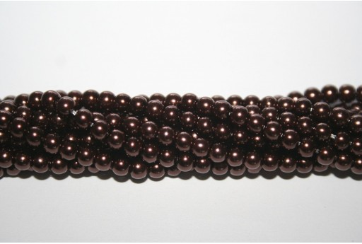 Glass Pearls Strand Brown 4mm - 105pcs