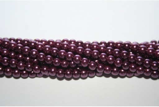 Glass Pearls Strand Purple 4mm - 105pcs